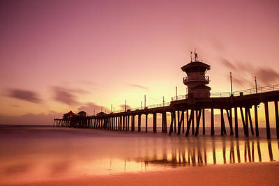 Huntington Beach Sunset Poster by Phong Trinh