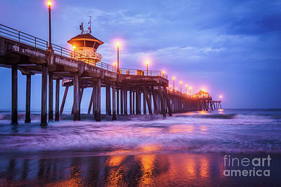 Huntington Pier Morning Storm Clouds Poster by Paul Velgos