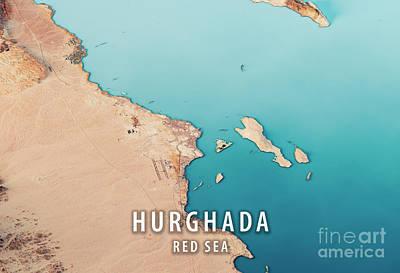 Hurghada 3d Render Satellite View Topographic Map Horizontal Poster by Frank Ramspott