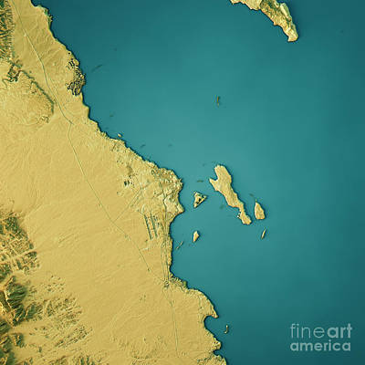 Hurghada Topographic Map Natural Color Top View Poster