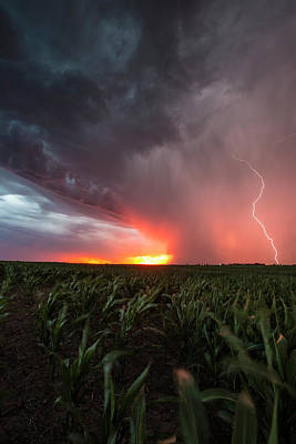 Poster featuring the photograph Huron Lightning  by Aaron J Groen