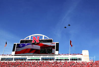 Husker Memorial Stadium Air Force Fly Over Poster