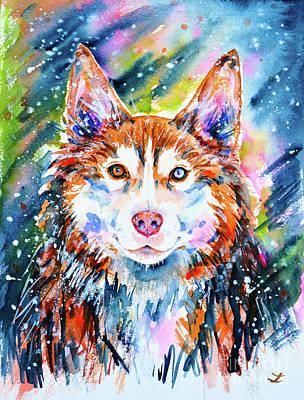Poster featuring the painting Husky by Zaira Dzhaubaeva