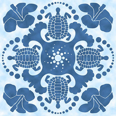 Hybiscus And Turtle Hawaiian Quilt Block Poster