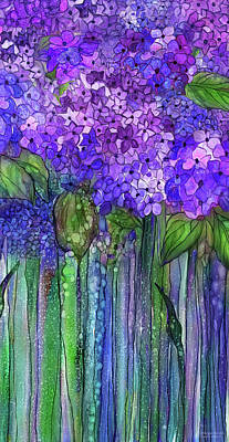 Poster featuring the mixed media Hydrangea Bloomies 2 - Purple by Carol Cavalaris