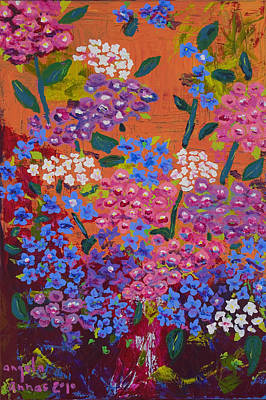 Poster featuring the painting Hydrangea Collage by Angela Annas