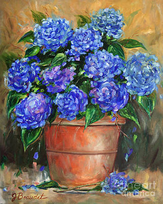 Hydrangeas In Pot Poster