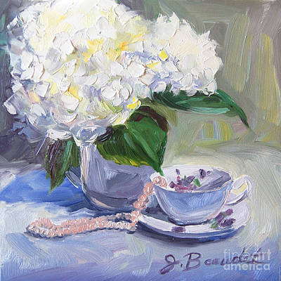 Poster featuring the painting Hydrangeas With Pearls  by Jennifer Beaudet