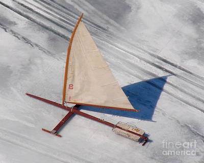 Poster featuring the photograph I-001 Iceboat - Wood Antique by Bill Lang