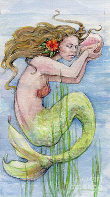 Poster featuring the painting Mermaid by Lora Serra