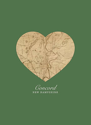 I Heart Concord New Hampshire Vintage City Street Map Love Americana Series No 046 Poster