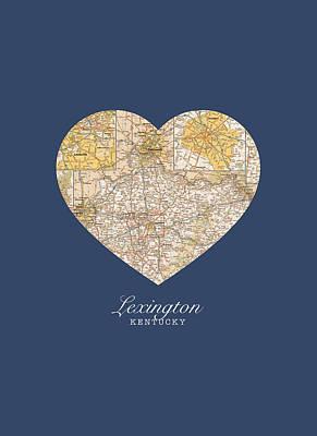 I Heart Lexington Kentucky Vintage City Street Map Americana Series No 006 Poster by Design Turnpike