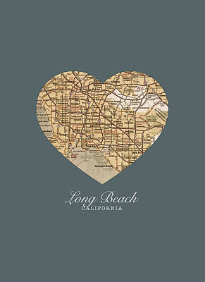 I Heart Long Beach California Vintage City Street Map Americana Series No 019 Poster