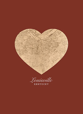 I Heart Louisville Kentucky Vintage City Street Map Americana Series No 007 Poster