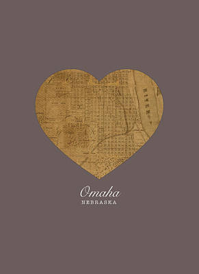I Heart Omaha Nebraska Street Map Love Americana Series No 065 Poster