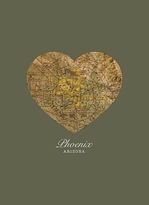I Heart Phoenix Arizona Vintage City Street Map Americana Series No 026 Poster by Design Turnpike