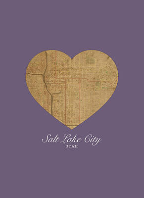 I Heart Salt Lake City Utah Vintage City Street Map Love Americana Series No 042 Poster