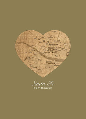 I Heart Santa Fe New Mexico Vintage City Street Map Americana Series No 027 Poster by Design Turnpike