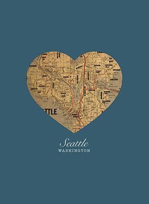 I Heart Seattle Washington Vintage City Street Map Americana Series No 015 Poster by Design Turnpike