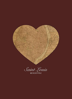 I Heart St Louis Vintage City Street Map Americana Series No 014 Poster by Design Turnpike