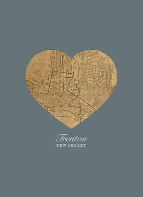 I Heart Trenton New Jersey Vintage City Street Map Love Americana Series No 050 Poster