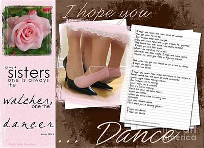 I Hope You Dance Sister Poster by Kathy Tarochione