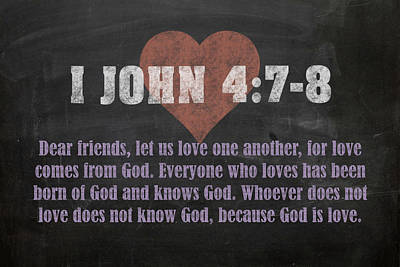I John 4 7-8 Inspirational Quote Bible Verses On Chalkboard Art Poster by Design Turnpike
