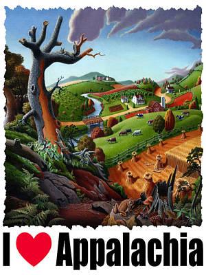 I Love Appalachia - Appalachian Wheat Field Harvest Rural Landscape Poster by Walt Curlee