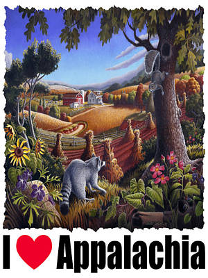I Love Appalachia - Coon Gap Holler Country Farm Landscape 1 Poster by Walt Curlee