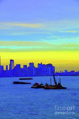 I Love New York Sunset Digital Painting Poster