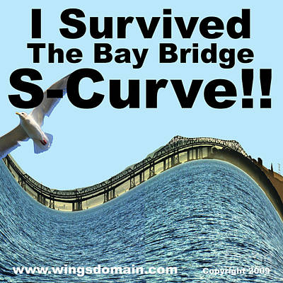 I Survived The Bay Bridge S.curve Poster by Wingsdomain Art and Photography