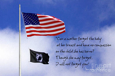 I Will Not Forget You American Flag Pow Mia Flag Art Poster by Reid Callaway