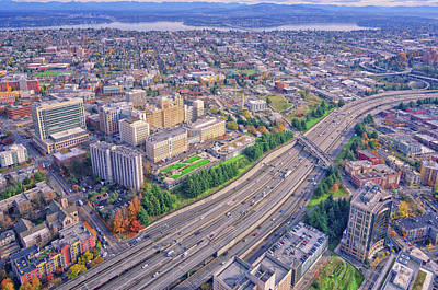 I5 Seattle Aerial View Poster