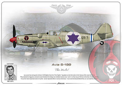 Poster featuring the drawing Iaf Avia S-199 by Amos Dor