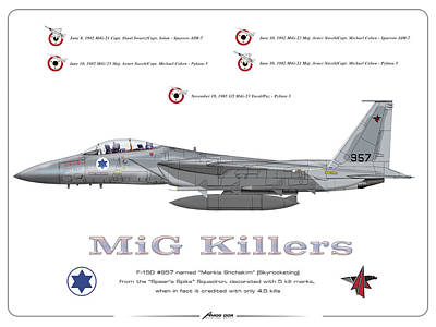 Poster featuring the drawing Iaf F-15d - Mig Killer by Amos Dor