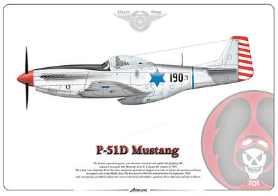 Poster featuring the drawing Iaf First P-51d Mustang by Amos Dor