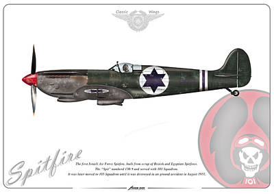 Poster featuring the drawing Iaf First Spitfire by Amos Dor