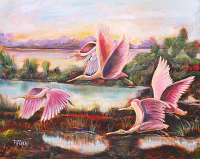 Poster featuring the painting Scarlet Ibis by Patricia Piffath