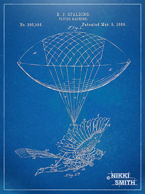 Icarus Airborn Patent Artwork Poster by Nikki Marie Smith