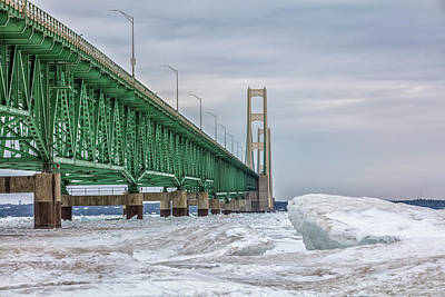 Poster featuring the photograph Ice And Mackinac Bridge  by John McGraw