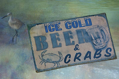 Ice Cold Beer And Crabs - Looks Like Summer At The Shore Poster by Mitch Spence
