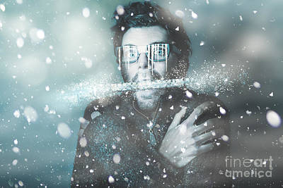 Ice Cold Winter Man In A Freeze Of Snow And Frost  Poster