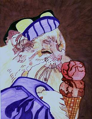Ice Cream Kitty Poster by Connie Valasco