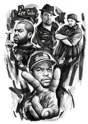Ice Cube Blackwhite Group Art Drawing Poster Poster by Kim Wang