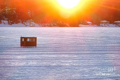 Ice Fishing On China Lake Poster by Olivier Le Queinec
