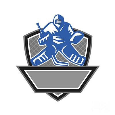 Ice Hockey Goalie Crest Retro Poster by Aloysius Patrimonio