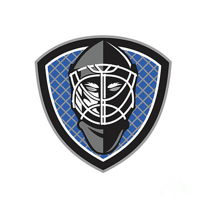Ice Hockey Goalie Helmet Crest Retro Poster by Aloysius Patrimonio
