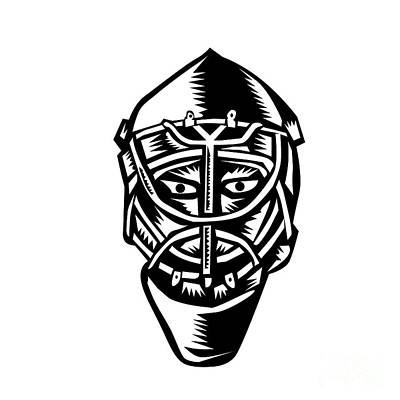 Ice Hockey Goalie Helmet Woodcut Poster by Aloysius Patrimonio