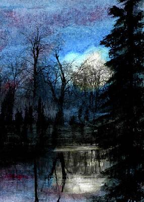 Ice Pond Moonrise Poster