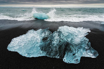 Poster featuring the photograph Iceberg And Black Beach In Iceland by Matthias Hauser